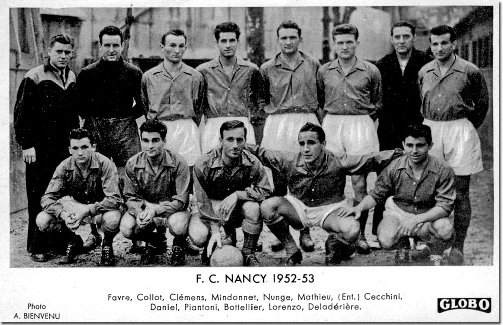 Le FC Nancy 1952 avec Roger Piantoni