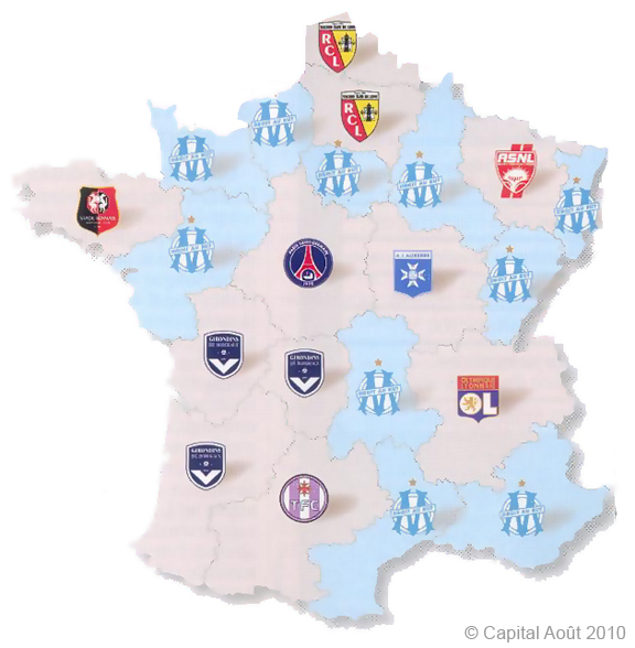 Ligue 1 et supporters Carte